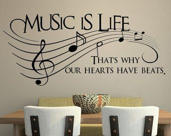 Music is life.. That's why our hearts have beats Vinyl Wall Decal Sticker Art  $13