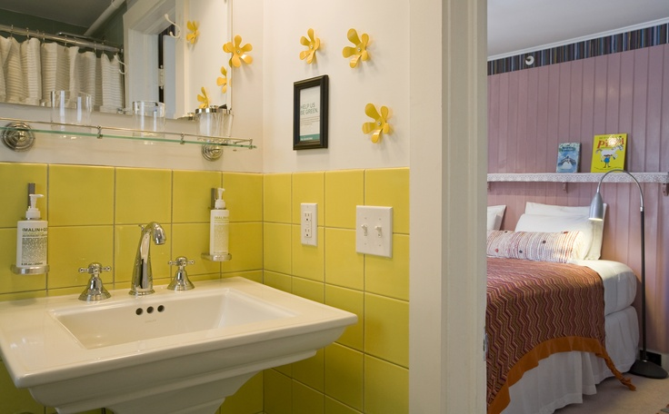 Astrid Lindgren's bathroom is bright & fun at c/o The Maidstone.