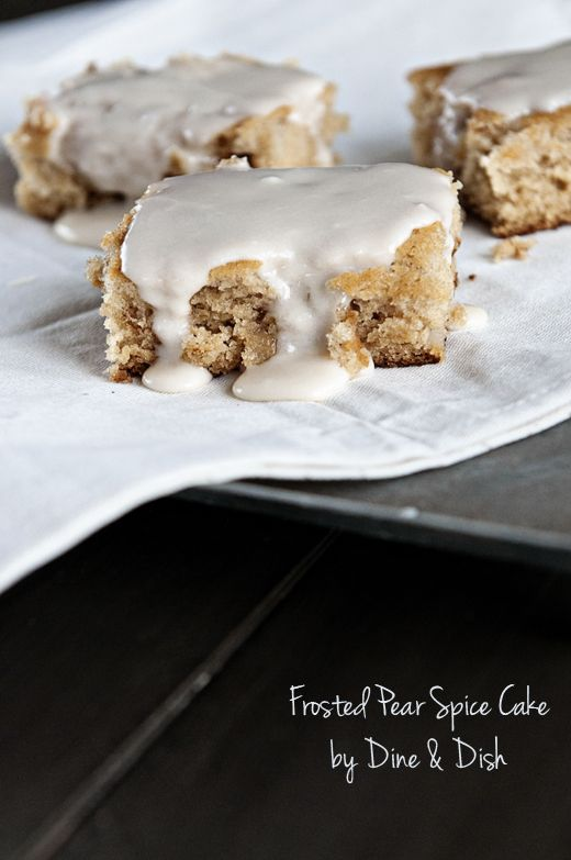 Spiced Pear Cake: Frostings Pears Spices Cak, Pears Spices Cakes Recipes, Pears Desserts Recipes, Pear Cake, Pears Cakes Recipes, Fall Recipes, Spices Pears, Pears Recipes, Frostings Spices
