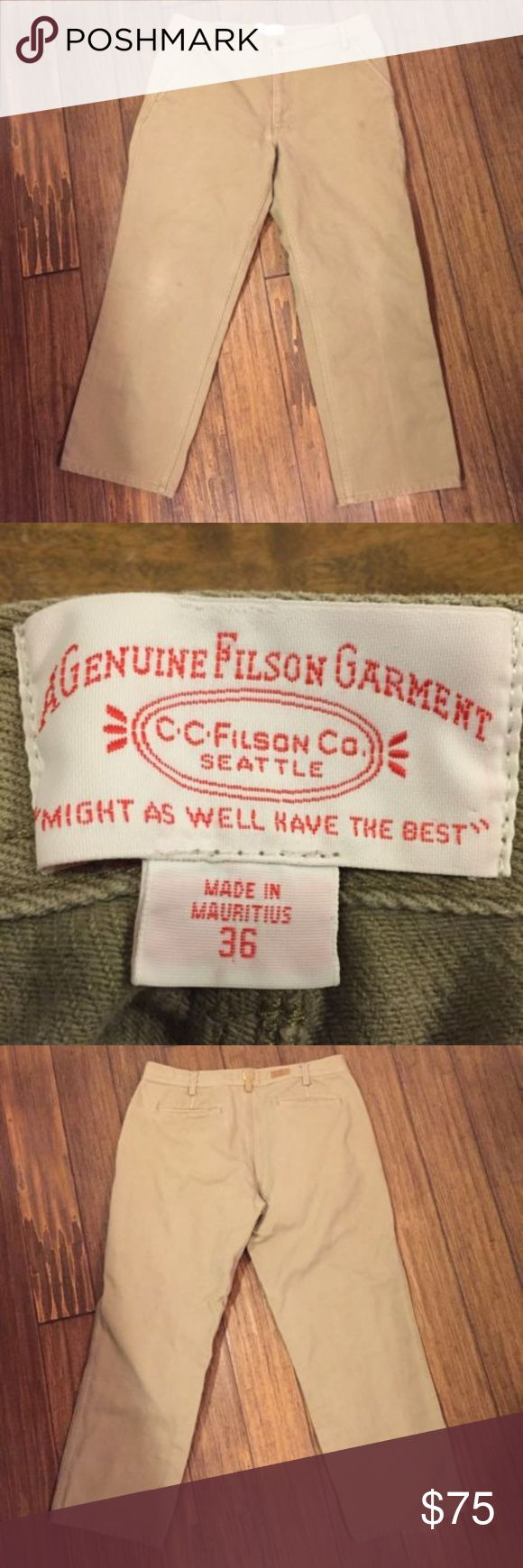 """Filson Khaki Tan Jean Work Pants 10176 Mens 36 C.C. Filson Co.Seattle  Style - 10176 Khaki Tan Jeans Work Pants 100% Cotton  Size - 36 Waist   Inseem - 28""""  Color - Khaki Tan    Excellent Like New Pre-Owned Condition No Rips, Holes, or Damage Filson Jeans Relaxed"""