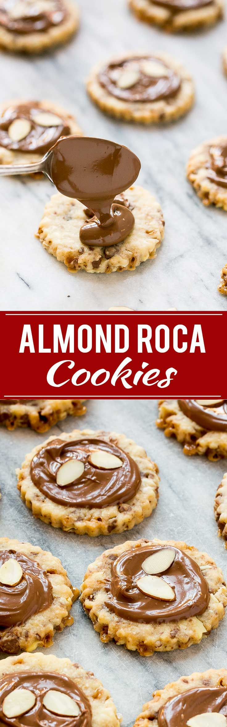 These almond roca cookies are loaded with toffee and almonds and topped with creamy milk chocolate. #BakeMagicMoments #Target ad