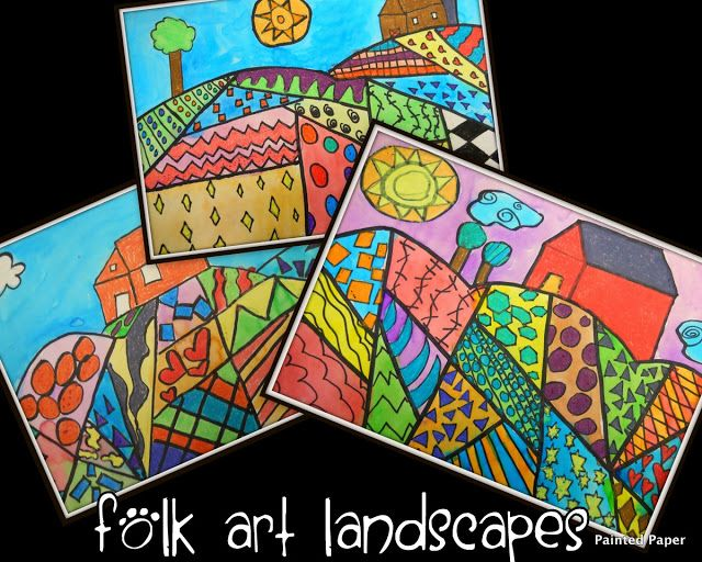 PAINTED PAPER: Folk Art Landscapes - students could draw different shapes in each section for geometry