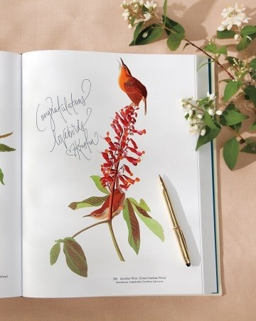 """This couple used """"Audubon\'s Birds of America: The Audubon Society Baby Elephant Folio"""" as a unique, whimsical guest bookCoffee Tables, Audubon Birds, Guest Books, Guest Book Alternative, Baby Elephants, Audubon Society, Cool Ideas, Guestbook, Pictures Book"""