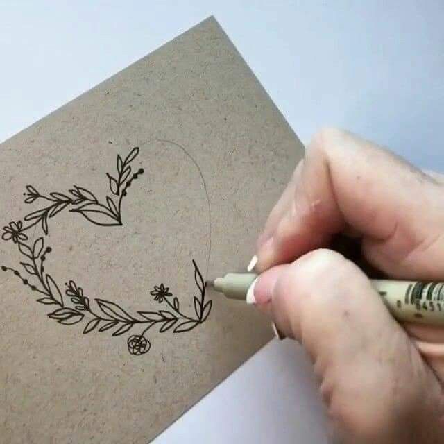 Heart with calligraphic elements – drawings – #heart #kalligraphy elements #with #drawings