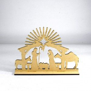 Nacimiento decorativo en madera MDF cortado en laser. Ideal para la decoración de Navidad en espacio reducidos.