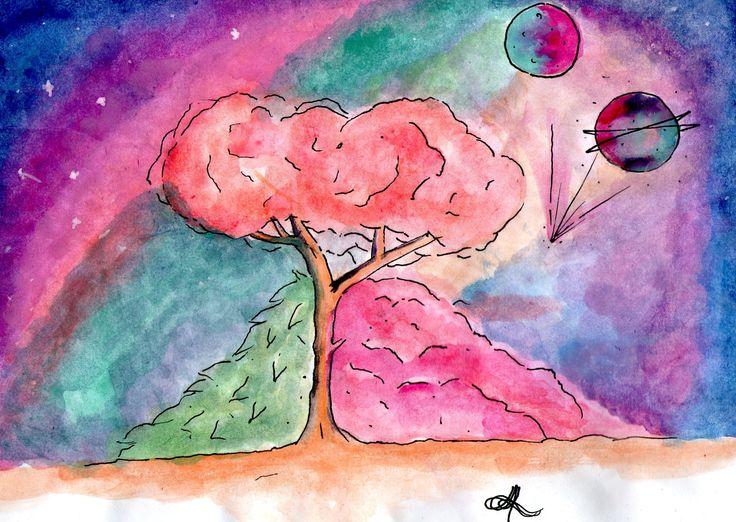 arbol acuarela dibujos