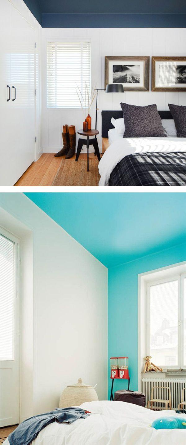 Teto Colorido. Aqui a cor da parede sobe até o teto inteiro.