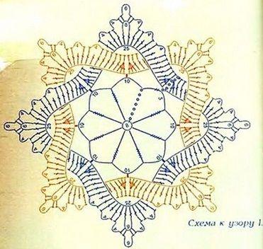 Intertweided star crochet.   uzori-salfetok-kruchkom1 (371x352, 157Kb)