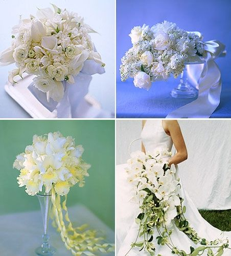 Witte zijden bloemen.