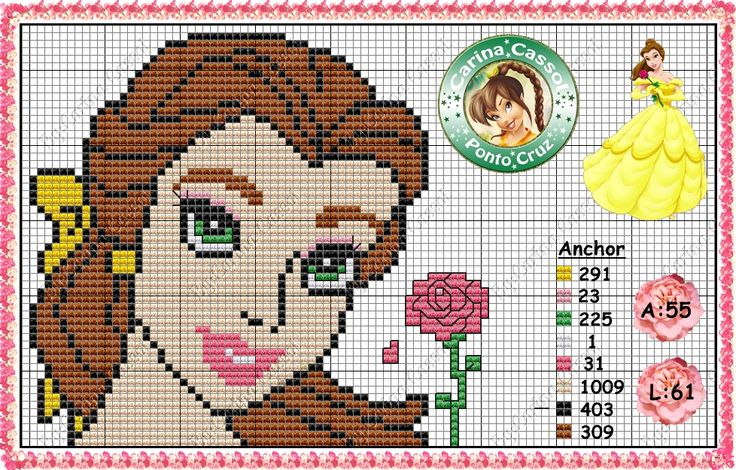 Belle cross stitch pattern by Carina Cassol - http://carinacassol.blogspot.com.br/