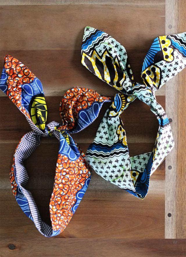 DIY wax block print head scarves.
