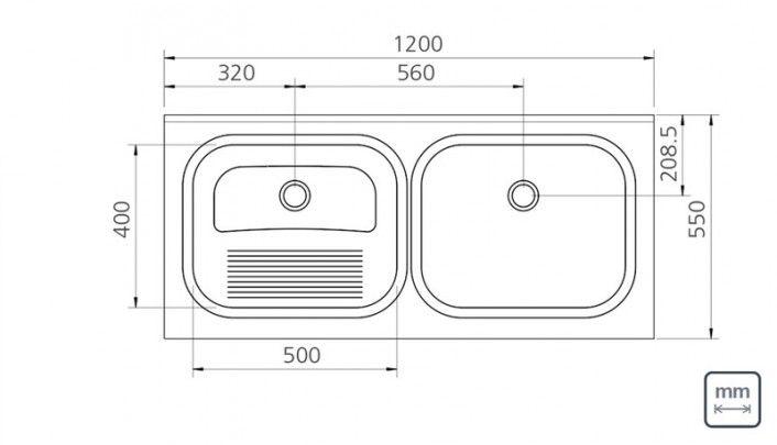 Tanque duplo de apoio em aço inox acetinado 120x55 cm - 94406117 : Produtos para Área de Serviço - Tanques para Lavar Roupas   Tramontina