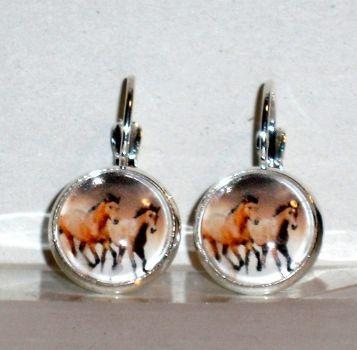 Ohrringe Pferd Modeschmuck Damen Hänger Ohrschmuck Glas Cabochon handgefertigt Neuware