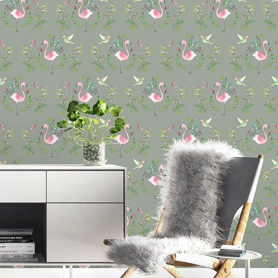 Pink And Grey Wallpaper Flamingo Wallpaper Kitchen Backsplash