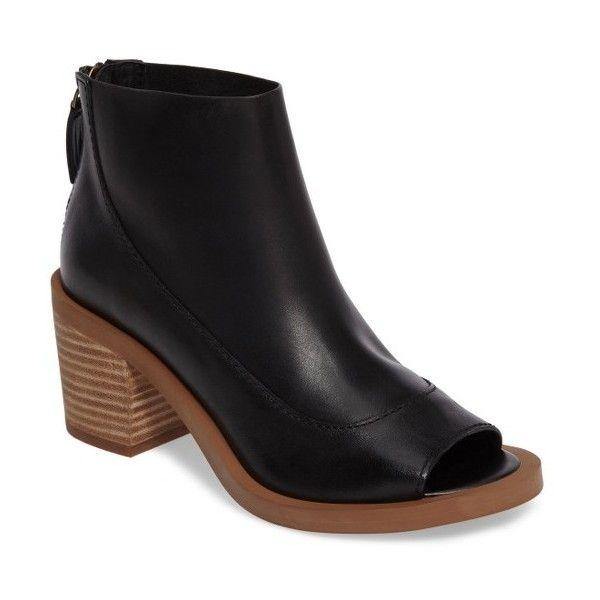 Women's Kelsi Dagger Brooklyn Lenox Open Toe Bootie (510 BRL) ❤ liked on Polyvore featuring shoes, boots, ankle booties, black, black bootie boots, open toe ankle boots, short black boots, black leather bootie and black ankle booties