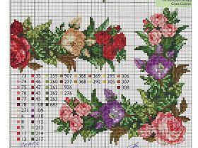Gráfico rosas coloridas para ponto cruz flores rosas vermelhas azuis