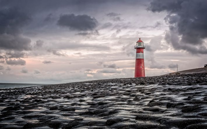 Download imagens Zeeland, Costa, costeira do farol, vermelho farol, noite, mar, Oeste capela, Farol Noorderhoofd Westkapelle, Países baixos