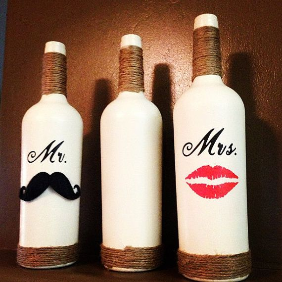 Mr. Mustache and Mrs. Red Lips Personalized Wine Bottle Set for a Wedding, Gift, Favor, Decoration, Centerpiece