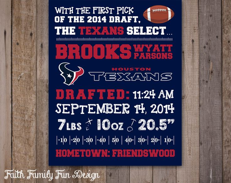 Nfl Houston Texans Birth Announcement Wall Art Personalized Sports Nursery Decor Baby Shower