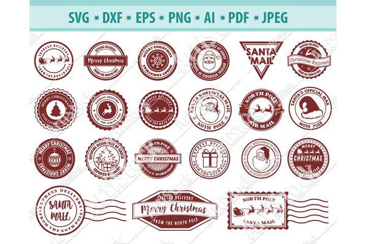 North Pole Svg Christmas Stamp Svg Mail Svg Dxf Png Eps 412829 Svgs Design Bundles Vinyl Decal Paper Christmas Stamps Christmas Vectors