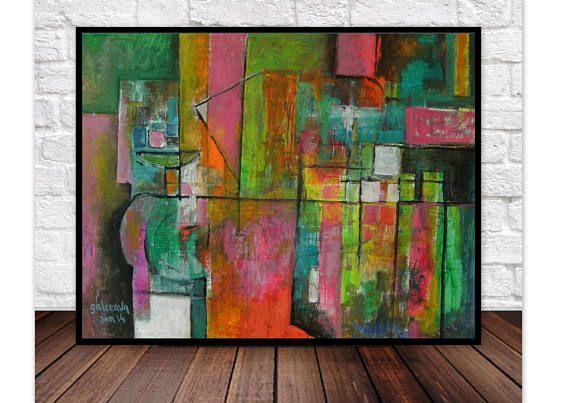 Geometric Landscape Painting Fine Art For Modern Living Room
