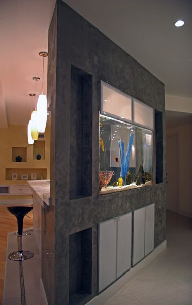 Kitchen inset aquarium by Aqua Terra Studios