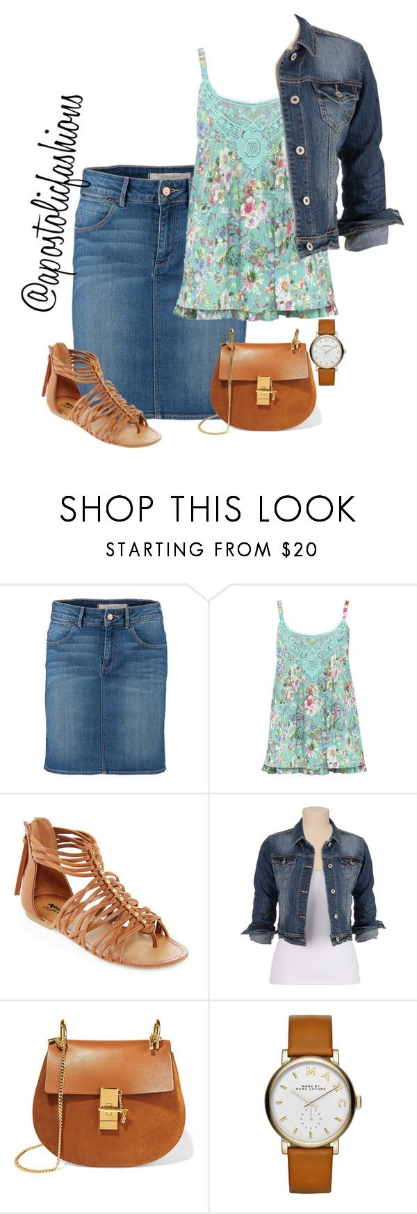 """Apostolic Fashions #1253"" by apostolicfashions on Polyvore featuring Wrangler, M&Co, Arizona, maurices, Chloé and Marc Jacobs"