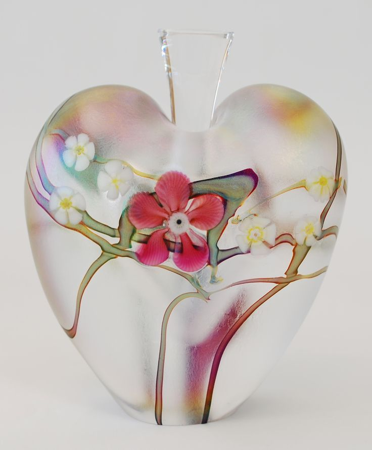 """Floral and Vine"" Zellique Art Glass Perfume Bottle.  Heart shaped, handblown and iridescent perfume bottle by the Zellique Art Glass Studio, located in California."