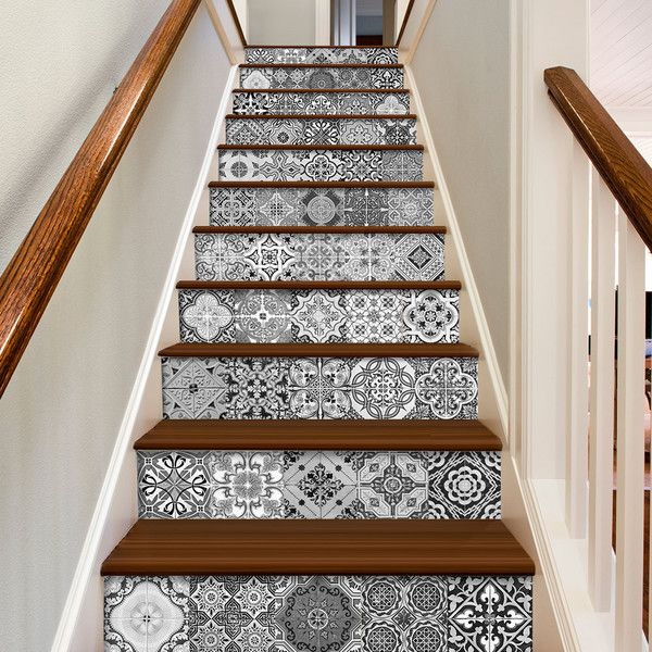Staircase Decals Tile Decal Staircase Portuguese Tiles Tile Stickers... ($71) ❤ liked on Polyvore featuring home, home decor, wall art, grey, home & living, home décor, wall decals & murals, wall décor, personalized window decals and door decals