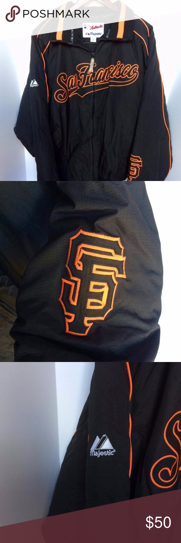 Majestic MLB San Fransico Giants Jacket This Jacket by Majestic is a must have for anyone to add to their collection.  This jacket is good quality and with last a lifetime, Majestic is known to deliver quality and this is just another example of them doing just that. This jacket is easy to pair with your favorite pair of denim pants which makes it easy to wear anytime any where. Majestic Jackets & Coats Bomber & Varsity