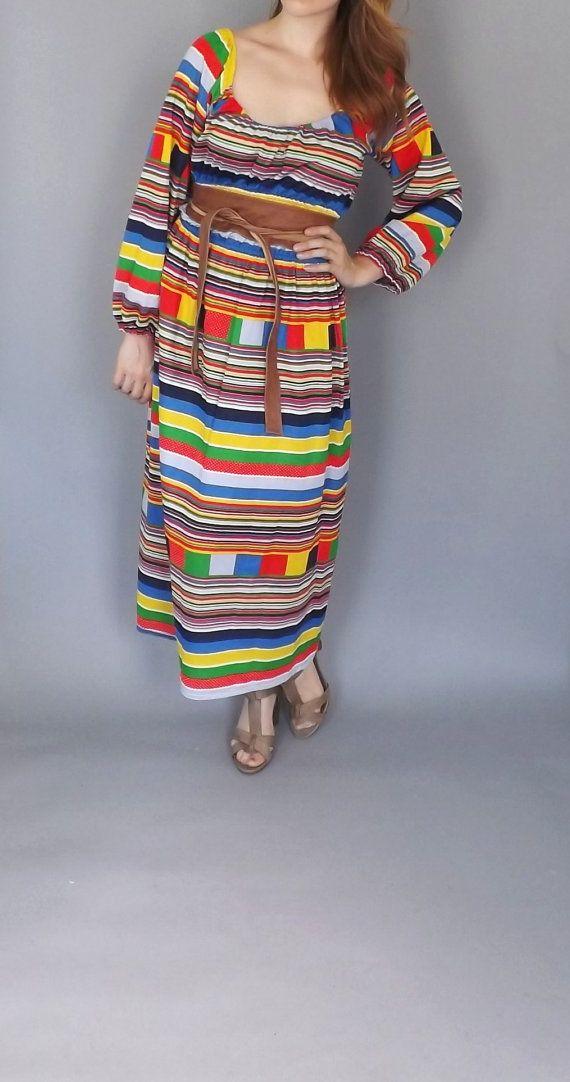 Vintage 1960s 70s Rainbow Striped Festival by alicksandraflin