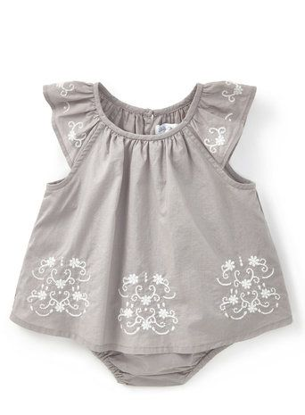 Baby Girls Holly Willoughby Grey Embroidered Romper Dress