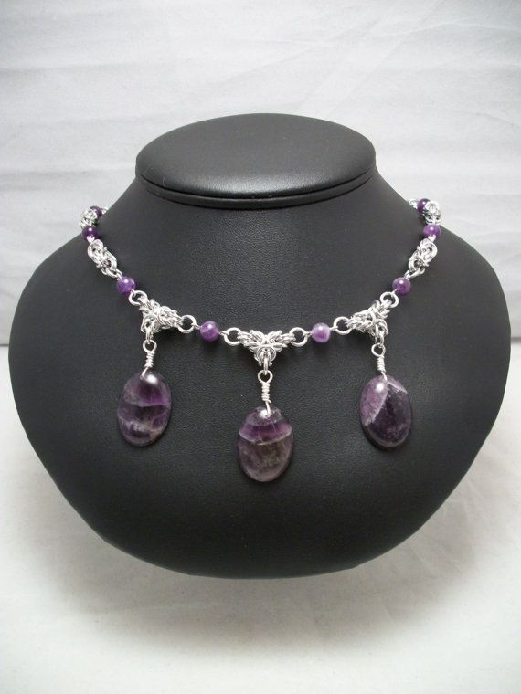 Amethyst Byzantine Chainmaille Necklace