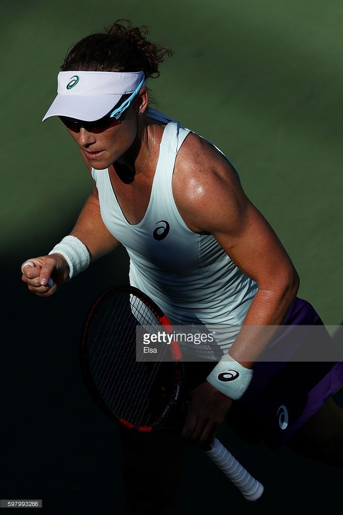 Samantha Stosur of Australia reacts against Camila Giorgi of Italy during her…