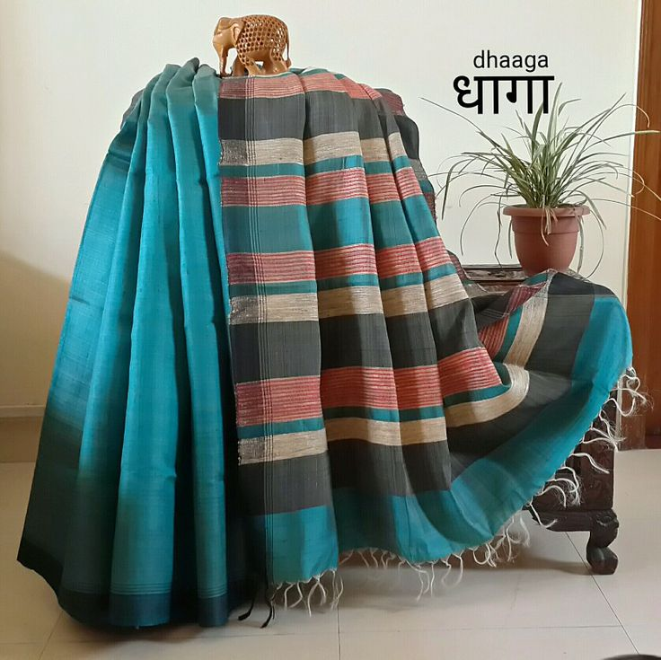 wow, I want this one! gorgeous with silver jewelry!!! Handwoven Khadi Silk in Teal from premium brand DHAAGA.