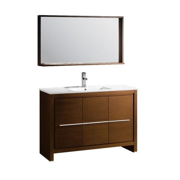Fresca Allier 48-inch Wenge Brown Modern Bathroom Vanity with Mirror