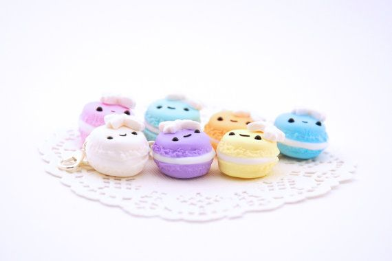 These pastel macaroon charms are the very definition of sweet. Expertly handcrafted from high quality polymer clay this kawaii charm is ready for you to take her home today. With a smiling little kawaii face and a cute white bow this crisp macaroon is filled with love and a delicious creamy filling just like the dessert she was inspired by. The purchase of this listing is for one macaroon charm measuring approximately 2 centimeters (0.7 inches) in diameter. Choose your favourite colour from…