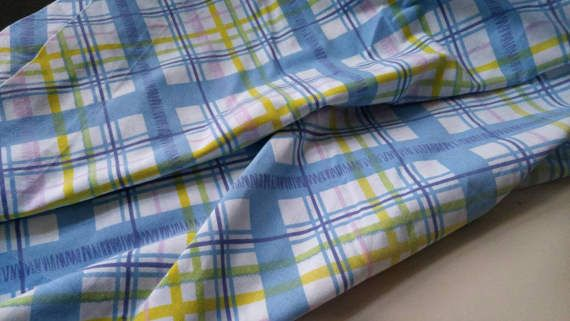 Pretty DanRiver Dantrel double bed sheet / flat / quality bed linen in easter colors / stripes / plaid / blue / yellow / purple / pastel Check out this item in my Etsy shop https://www.etsy.com/ca/listing/503399170/vintage-plaid-bed-sheet-dbl-flat