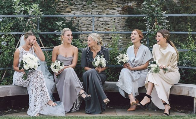 Inside fashion buyer Chloe Sippe's classic English wedding: The bride and her bridesmaids.