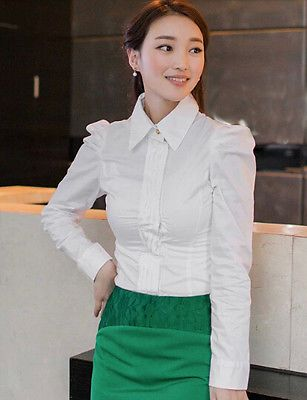 Bodysuit Blouse for Women OL Slim Puff Sleeve White Ruffles Shirts Tops Jumpsuit
