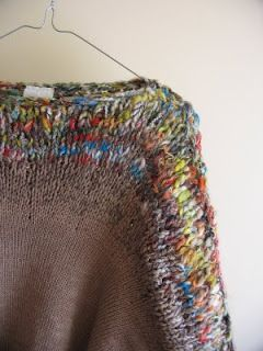 nikki gabriel. Nice way to highlight art yarn or handspun (or handspun art yarn!) in an otherwise plain sweater.