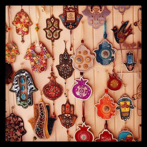 Hamsa ornaments at a bazaar.