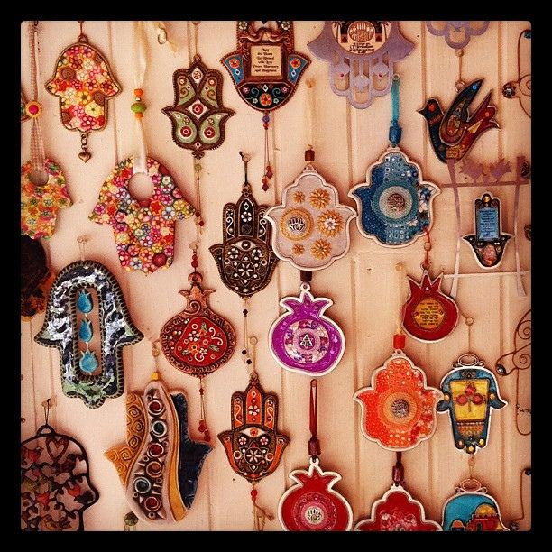 Hamsa ornaments at a bazaar.