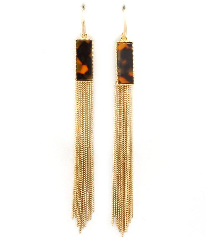 Long Tortoise & Chain Earrings at www.capricci.nl