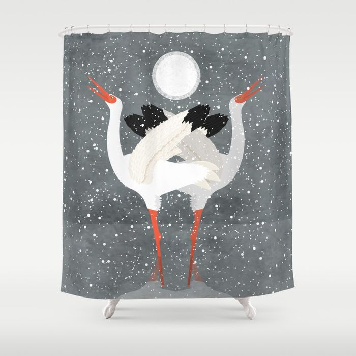 Siberian Snow crane Shower Curtain