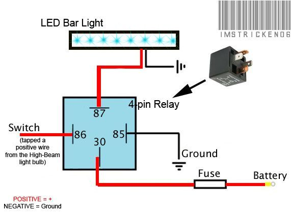 Image result for how to wire led light bar to high beam ... on