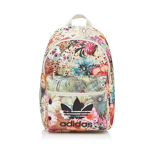 Adidas Floral collage backpack ($39) ❤ liked on Polyvore featuring bags, backpacks, vintage floral bag, day pack backpack, floral print bag, adidas and floral bag