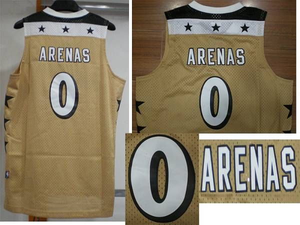Wizards #0 Gilbert Arenas Embroidered Gold NBA Jersey! Only $20.50USD