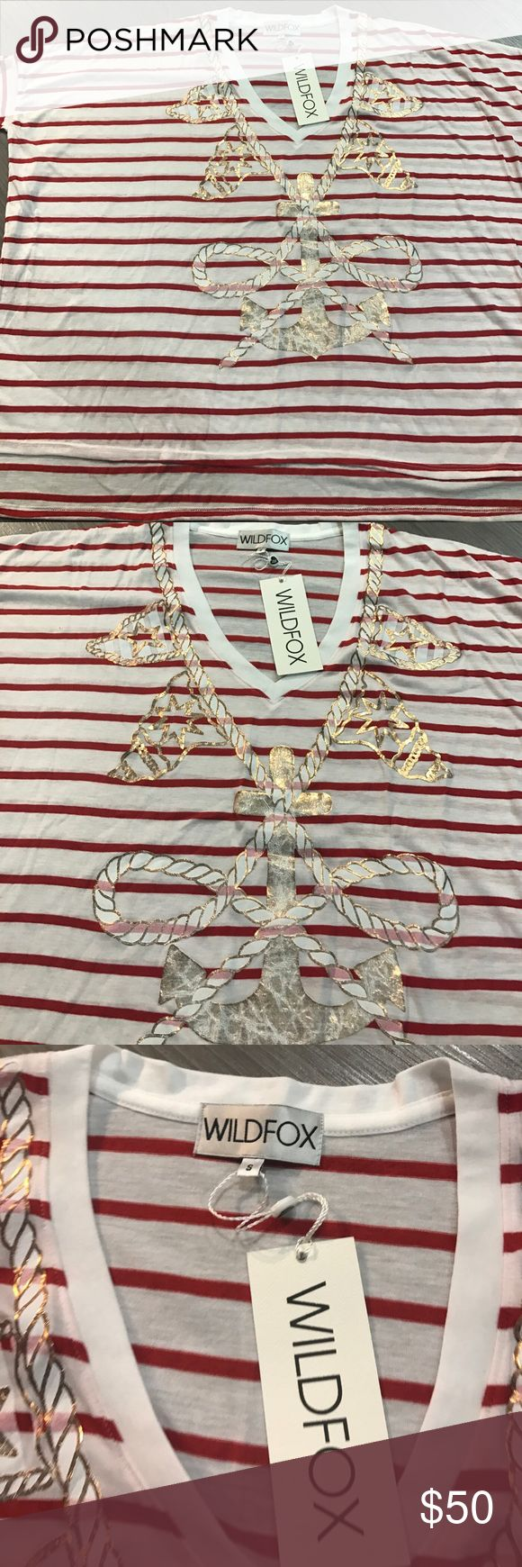 Wildfox shirt top Trend anchor rope striped new s Women's Wildfox top shirt lose big grunge the look size small has an anchor on the front white gold and red sailor style Wildfox Couture Tops Tees - Short Sleeve