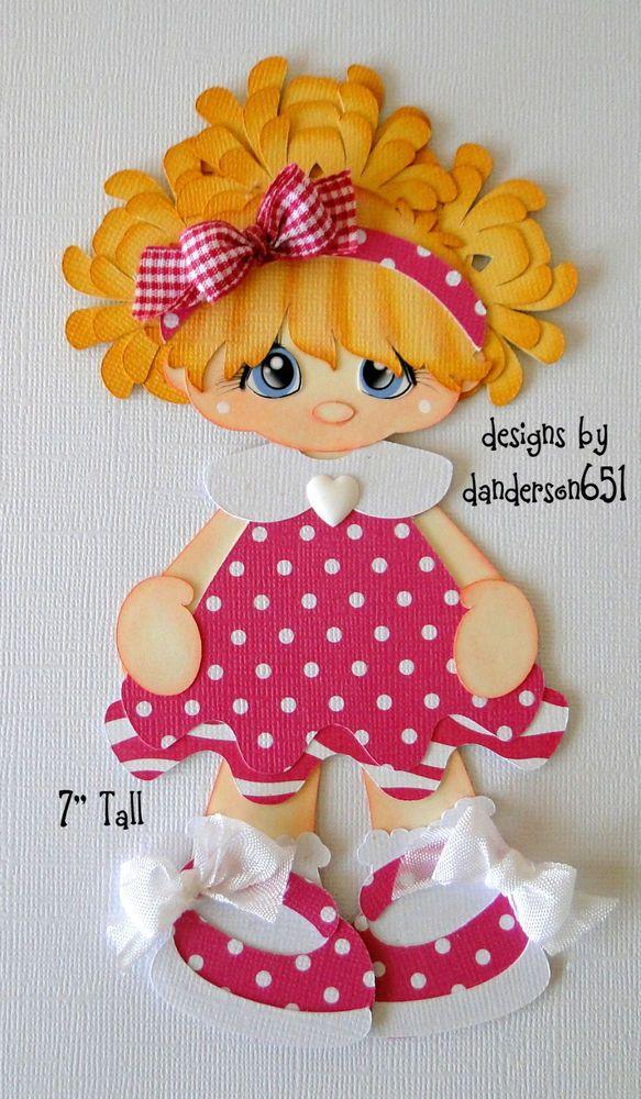 Girl in Pink Dress Paper Piecing PreMade 4 Border Scrapbook Albums danderson651